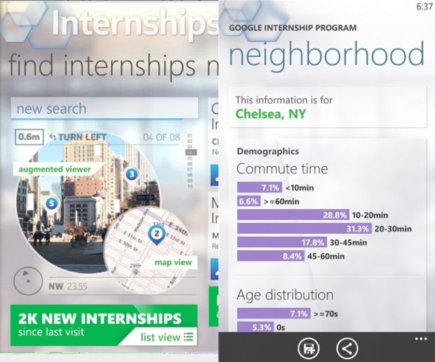 Nokia Internships Windows Phone app