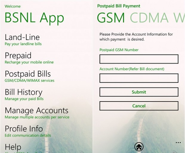 BSNL Windows Phone app