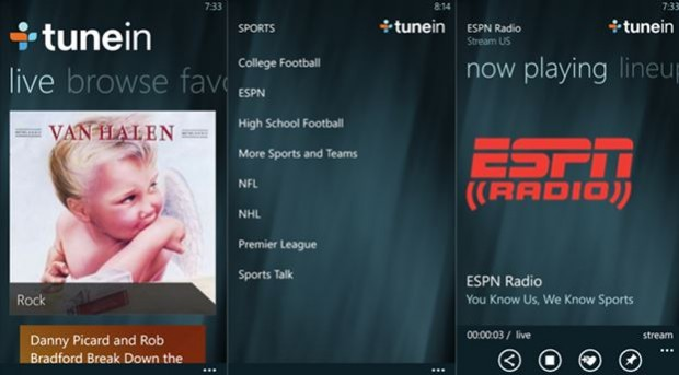 TuneIn Windows Phone app