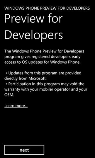 Windows Phone Preview Developers