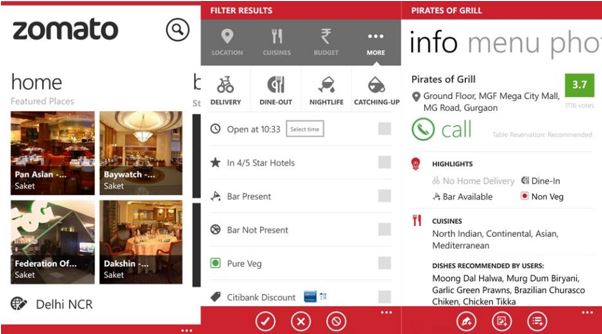 Zomato Windows Phone app