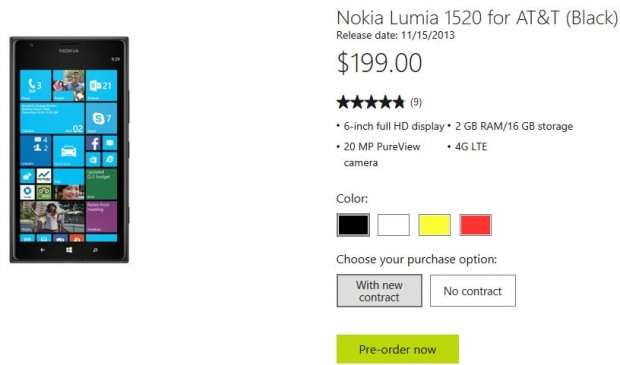 Nokia Lumia 1520 AT&T Pre-Order