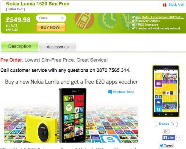 Nokia Lumia 1520 Unlocked UK