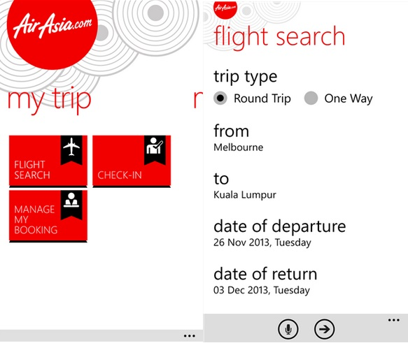 AirAsia Windows Phone app