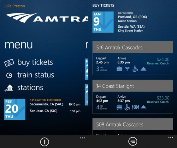 Amtrak Windows Phone app