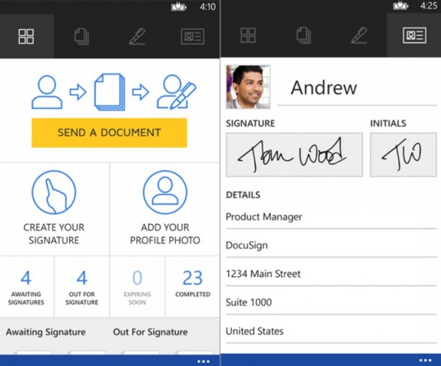Docusign Windows Phone
