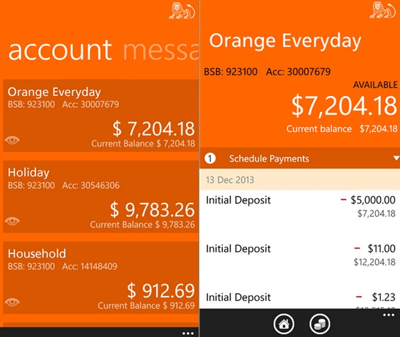 ING Direct Australia Windows Phone
