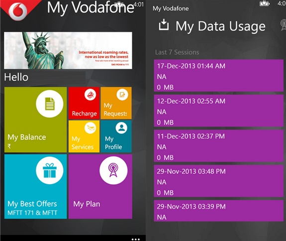 My Vodafone Windows Phone app