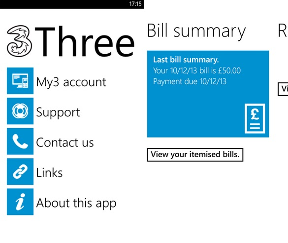 3 UK Windows Phone app