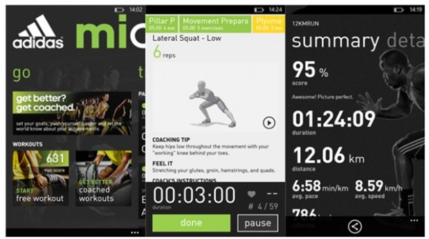 Adidas micoach Windows Phone app
