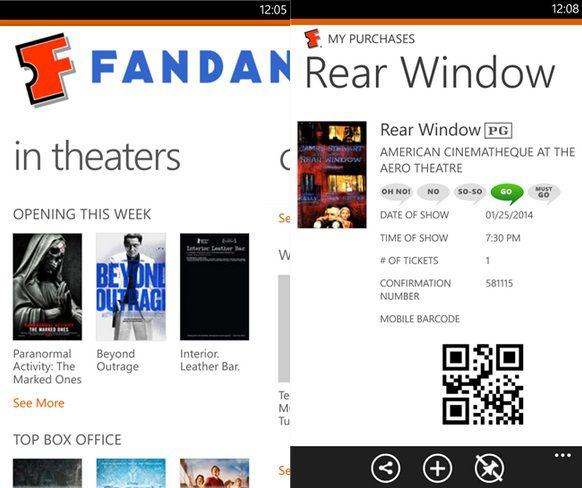 Fandango Windows Phone