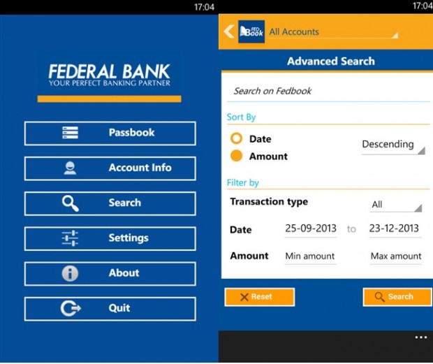 Federal Bank Windows Phone
