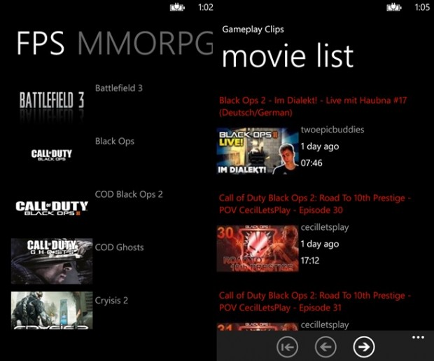 Gameplay Video Windows Phone