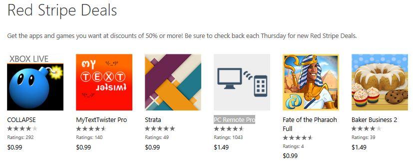 Jan 3rd week RedStripe Deals Windows Phone Store