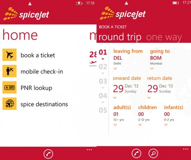 SpiceJet Windows Phone app