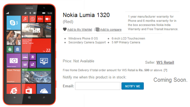 Nokia Lumia 1320 shows up on Flipkart, not for sale yet ...