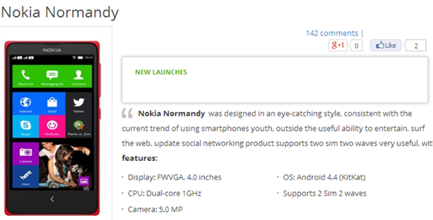 Nokia Normandy shows up at Vietnamese retailer, claims