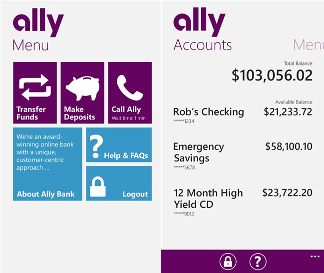 Ally Bank app for Windows Phone updated with bug fixes 2