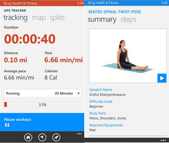 Bing Health and fitness beta windows phone 1