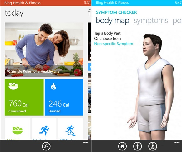 Bing Health and fitness beta windows phone