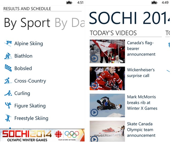 CBC Sochi Olympics Windows Phone app