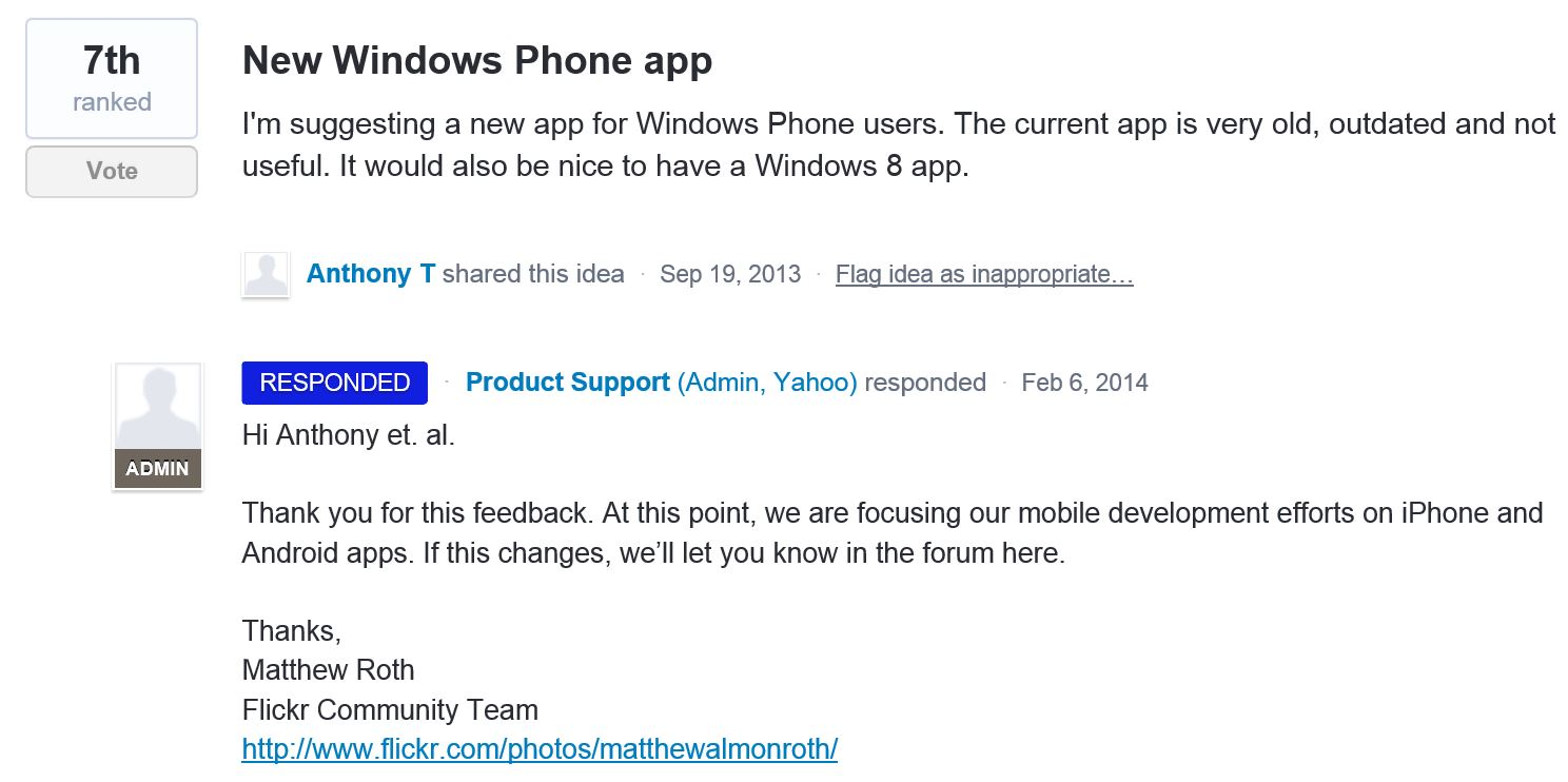 Flickr Windows Phone app