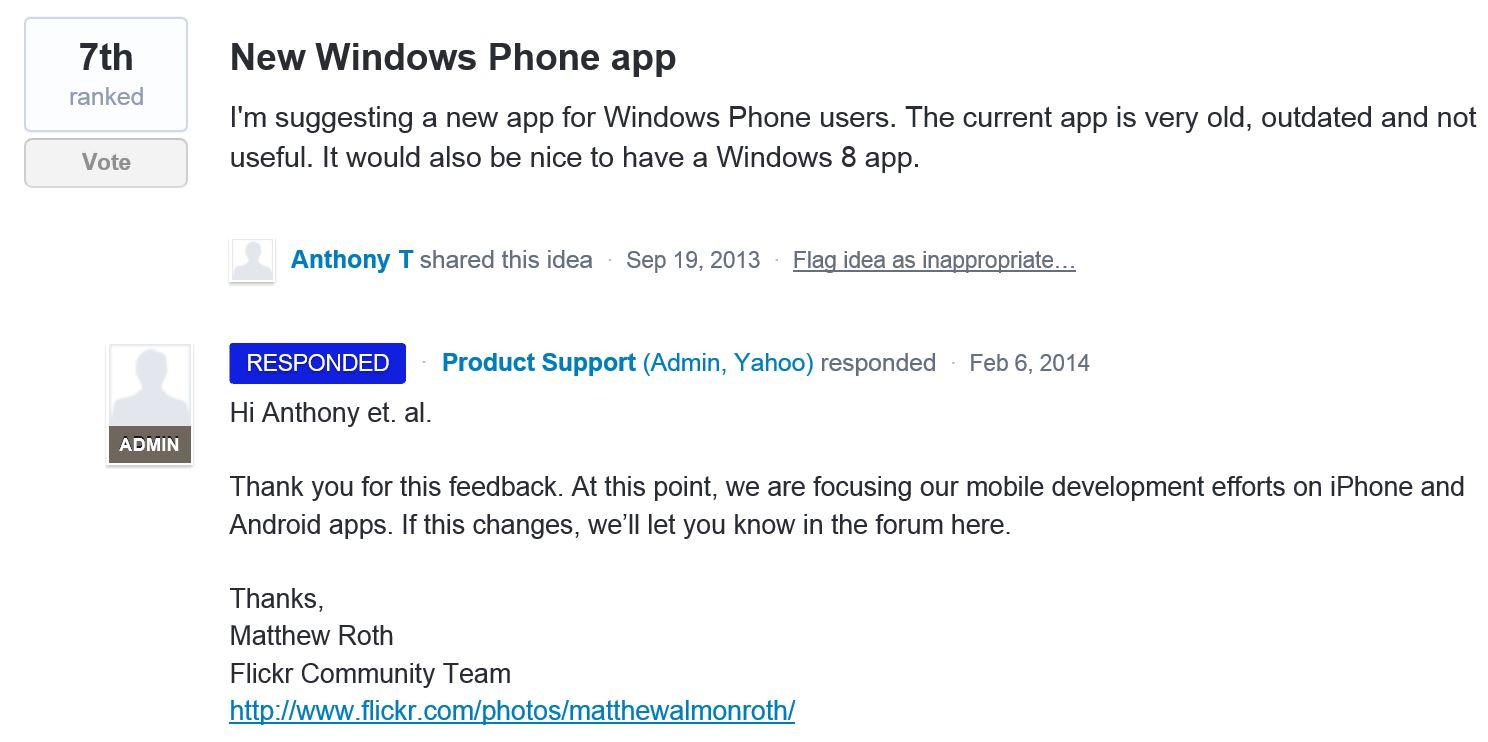 Flickr Windows Phone app