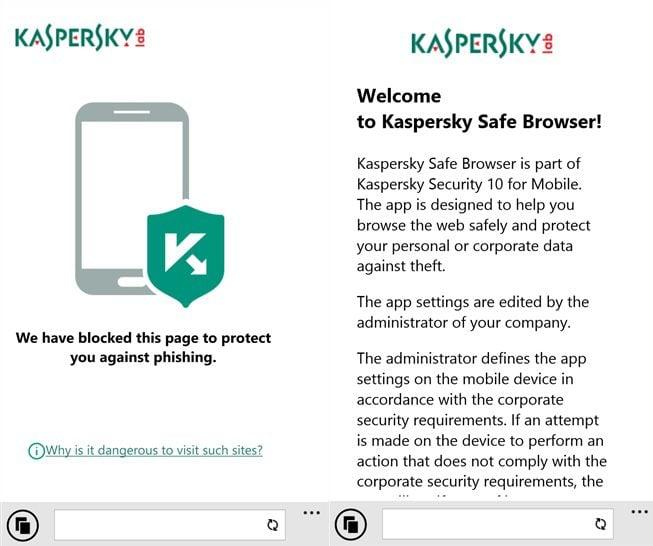 Kaspersky Safe Browser Windows Phone