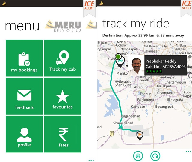 MeruCabs Windows Phone app