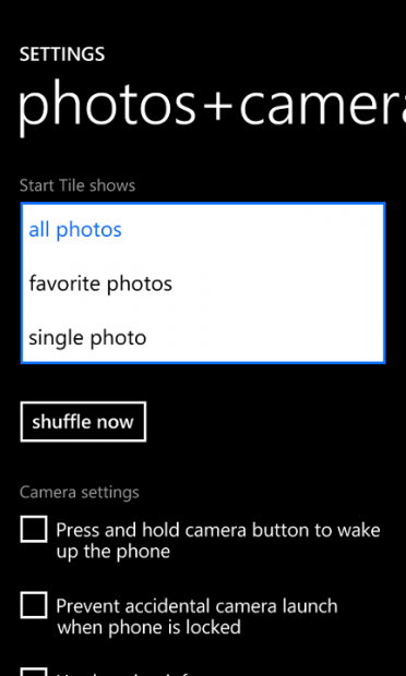 photo tile settings