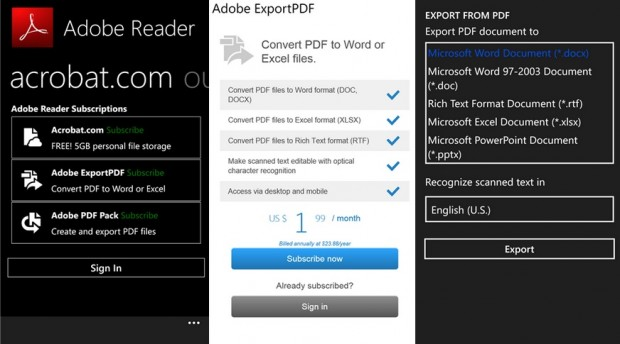 Adobe Reader Windows phone 104 update