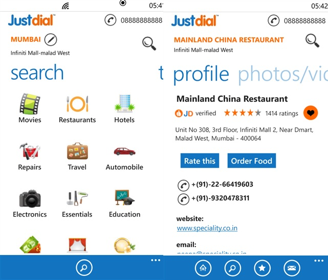 JustDial Windows Phone app
