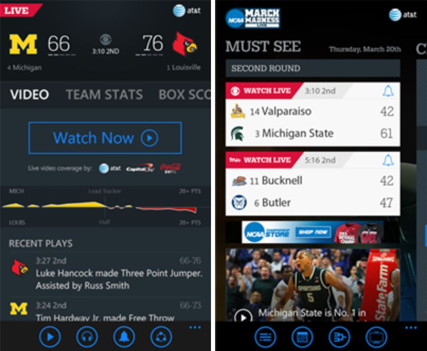 NCAA March Madness Windows Phone app