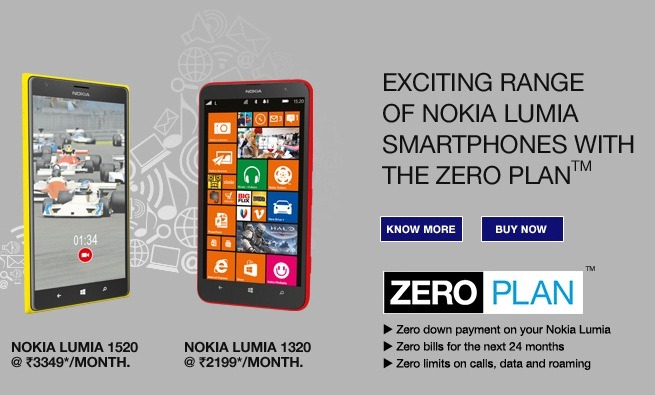 Reliance India Nokia Lumia 1520 Zero Plan
