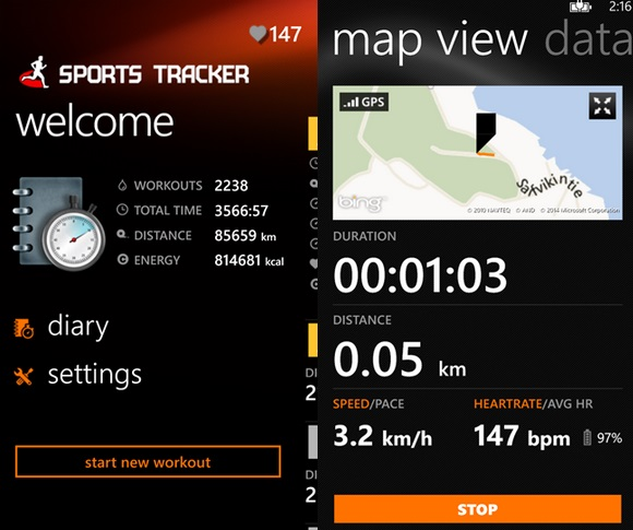Sports Tracker Windows Phone
