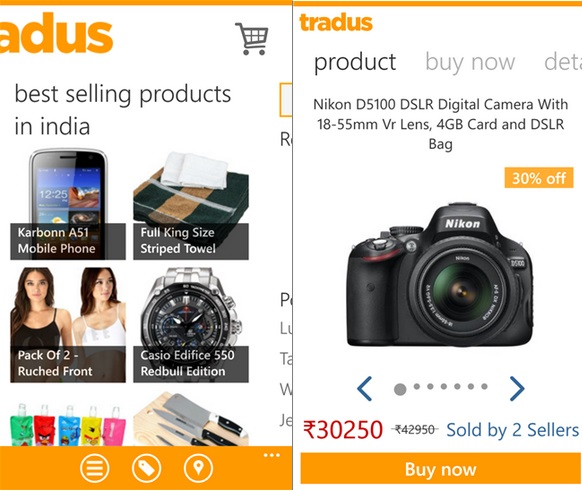 Tradus Windows Phone app