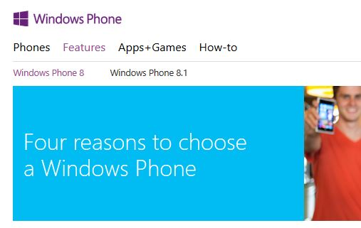 Windows Phone 8.1 homepage
