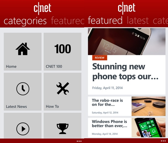 CNET Windows Phone app