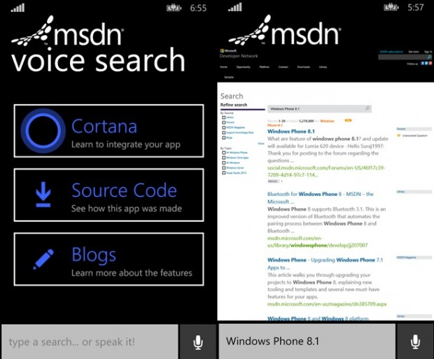 MSDN Voice Search App