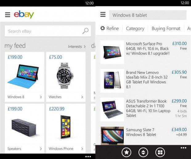 eBay Windows Phone app
