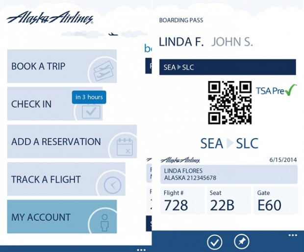Alaska Airlines Windows Phone