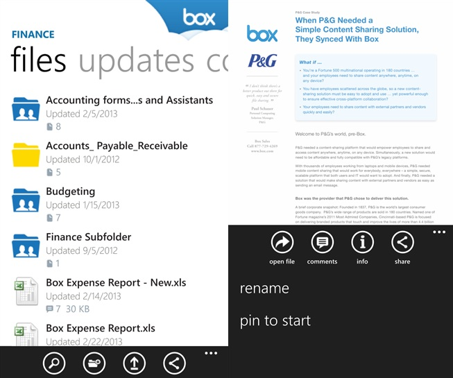Box Windows Phone app