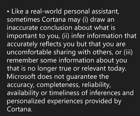 Cortana EULA