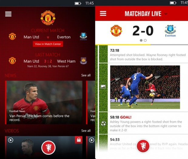 Manchester United Windows Phone