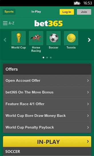 Bet365 Windows Phone app