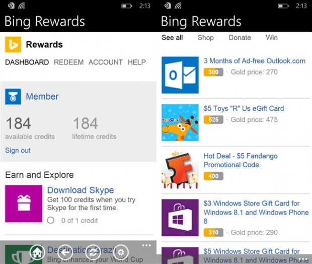 Bing Rewards Windows Phone
