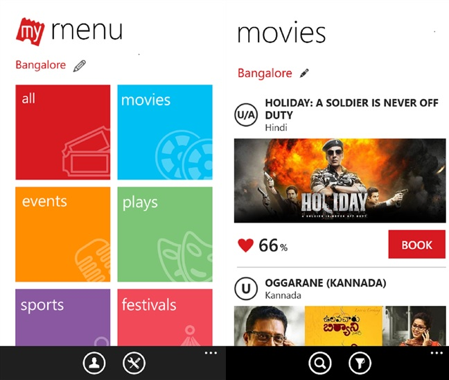 Bookmyshow Windows Phone app