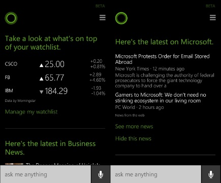 Cortana update June