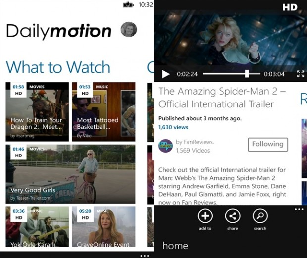 Dailymotion Windows Phone app