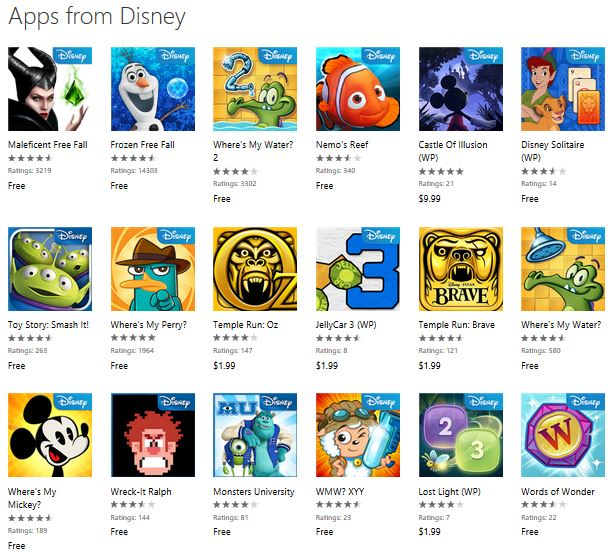 Disney Windows Phone games